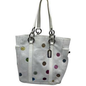 Coach White Medium Leather Color Dots Tote Bag